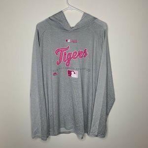 Majestic Womens XL Grey/Pink MLB Detroit Tigers